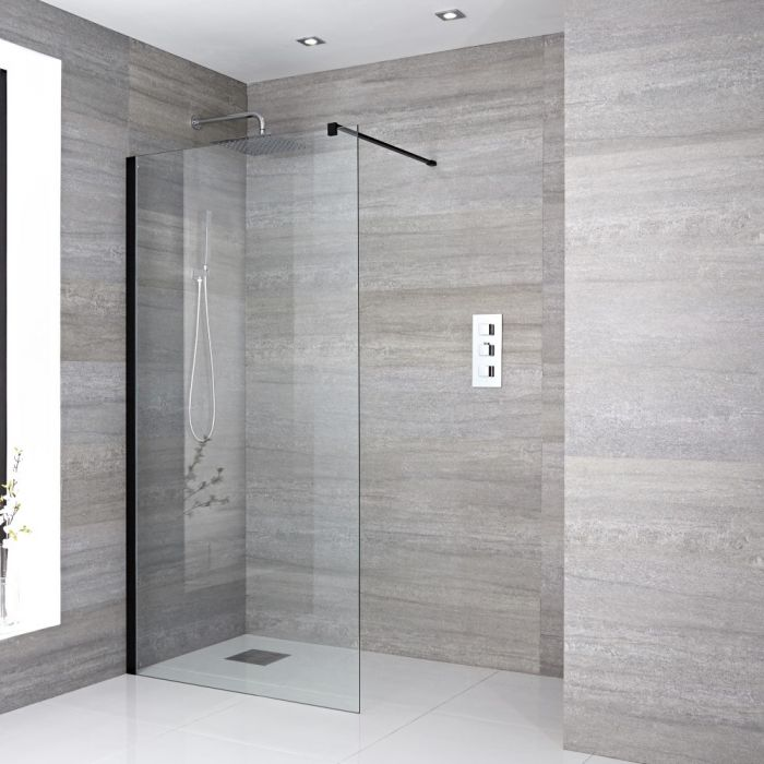 Milano Nero - 1950mm Wet Room Screen - Black - Choice of Sizes