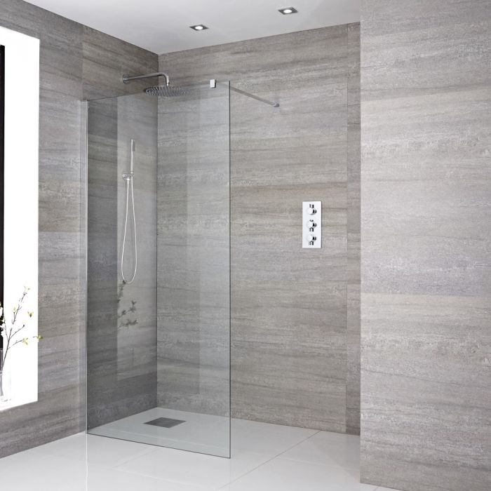 Milano Portland - 1950mm Wet Room Screen - Chrome - Choice of Sizes