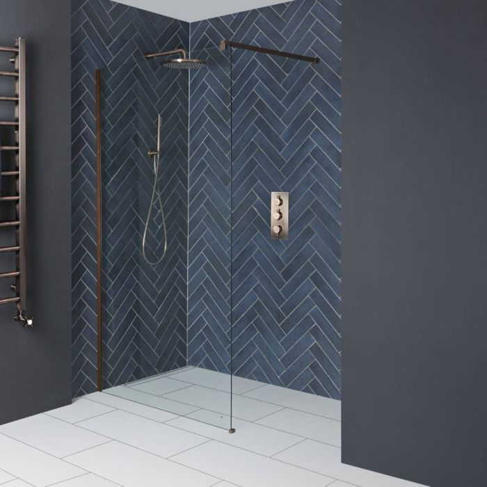 Milano Amara - 1950mm Wet Room Screen - Brushed Copper - Choice of Sizes