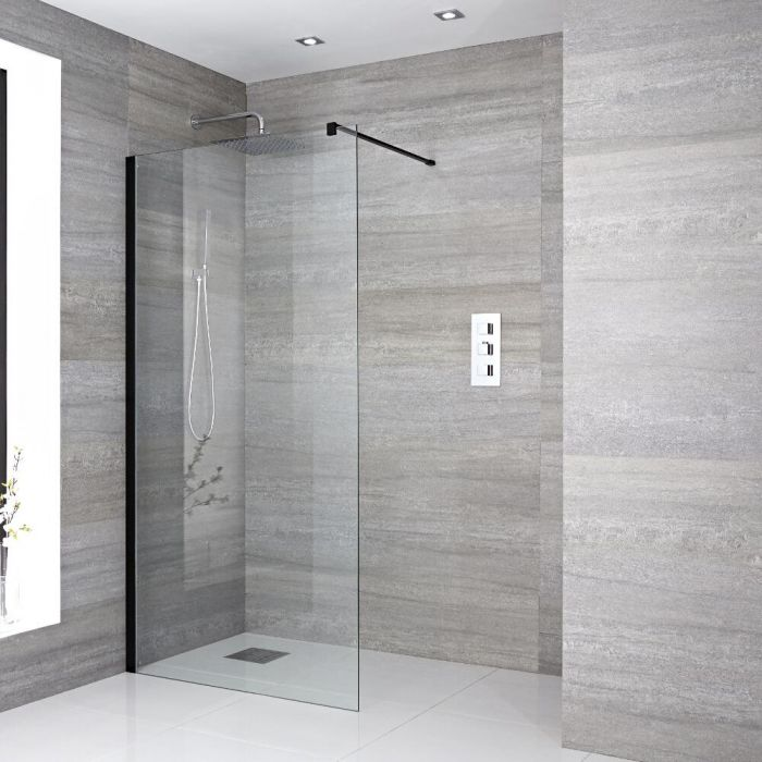 Milano Nero - Recessed Wet Room Shower Enclosure - Choice of Glass Size and Drain