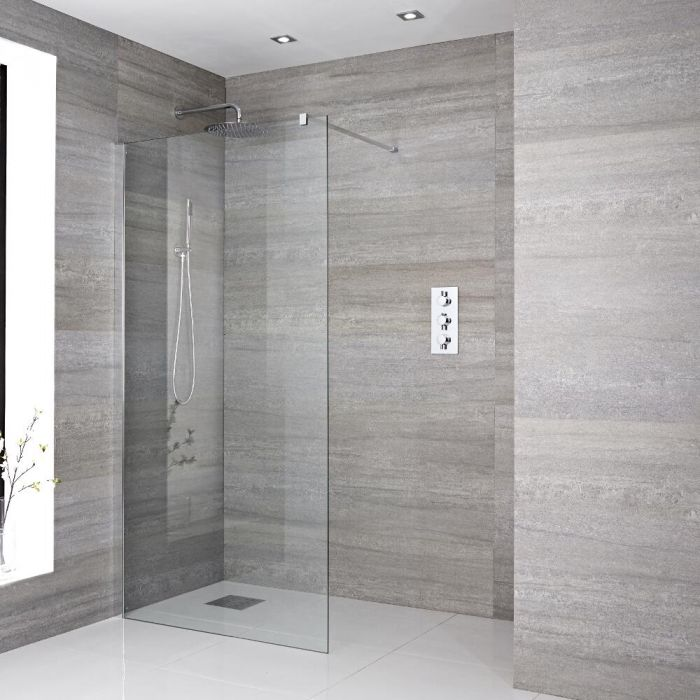 Milano Portland - Recessed Wet Room Shower Enclosure - Choice of Glass Size and Drain