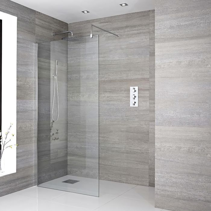 Milano Portland - 1850mm Wet Room Screen - Chrome - Choice of Sizes
