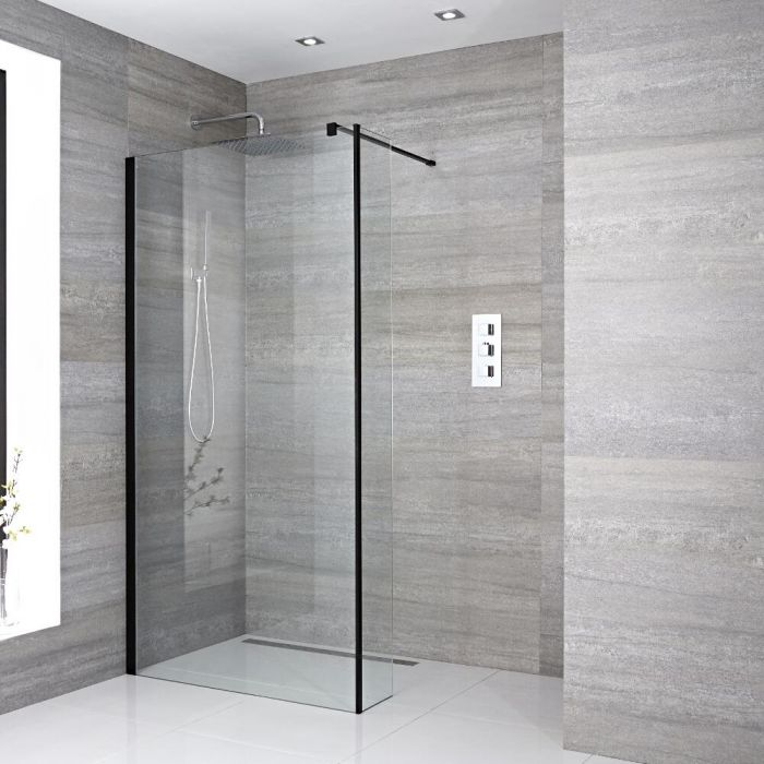 Milano Nero - Recessed Wet Room Shower Enclosure with Hinged Return Panel - Choice of Glass Size and Drain