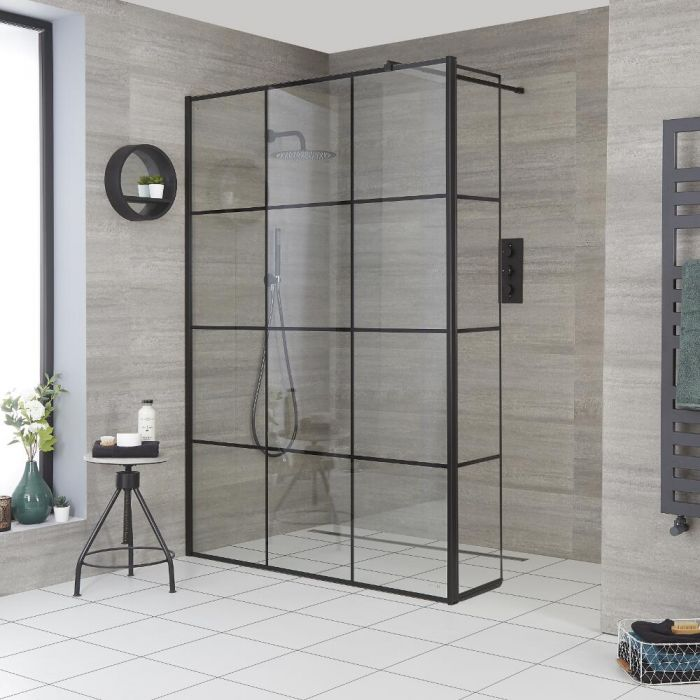 Milano Barq - Recessed Wet Room Shower Enclosure with Hinged Return Panel - Choice of Glass and Drain