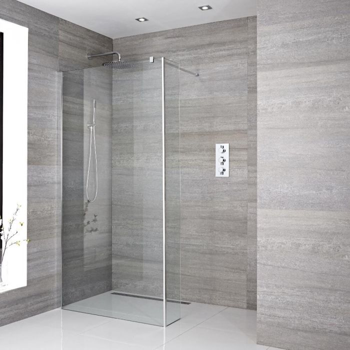 Milano Portland - Recessed Wet Room Shower Enclosure with Hinged Return Panel - Choice of Glass Size and Drain