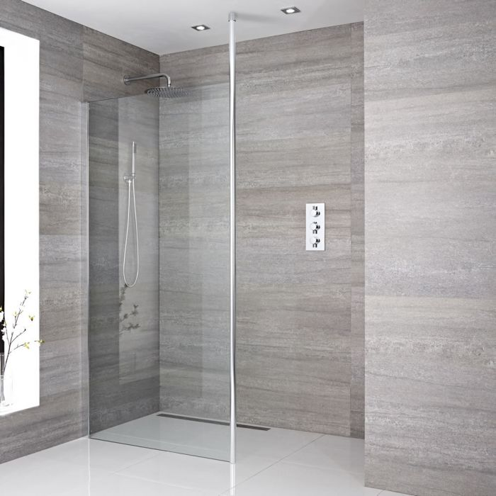 Milano Alto - Recessed Wet Room Shower Enclosure - Choice of Glass Size and Drain