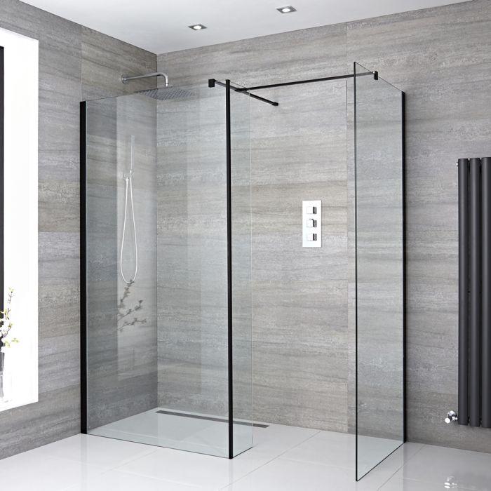 Milano Nero - Corner Wet Room Shower Enclosure with Hinged Return Panel - Choice of Glass Size & Drain