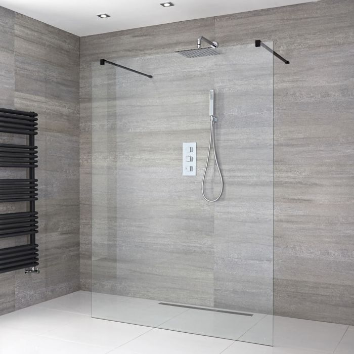 Milano Nero - Floating Wet Room Shower Enclosure - Choice of Glass Size & Drain