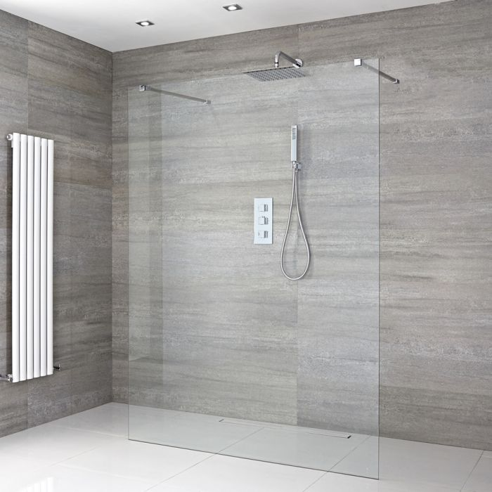 Milano Portland - Floating Wet Room Shower Enclosure - Choice of Glass Size & Drain