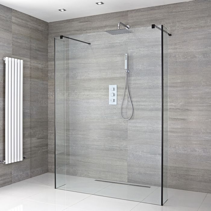 Milano Nero - Floating Wet Room Shower Enclosure with Hinged Return Panels - Choice of Glass Size & Drain