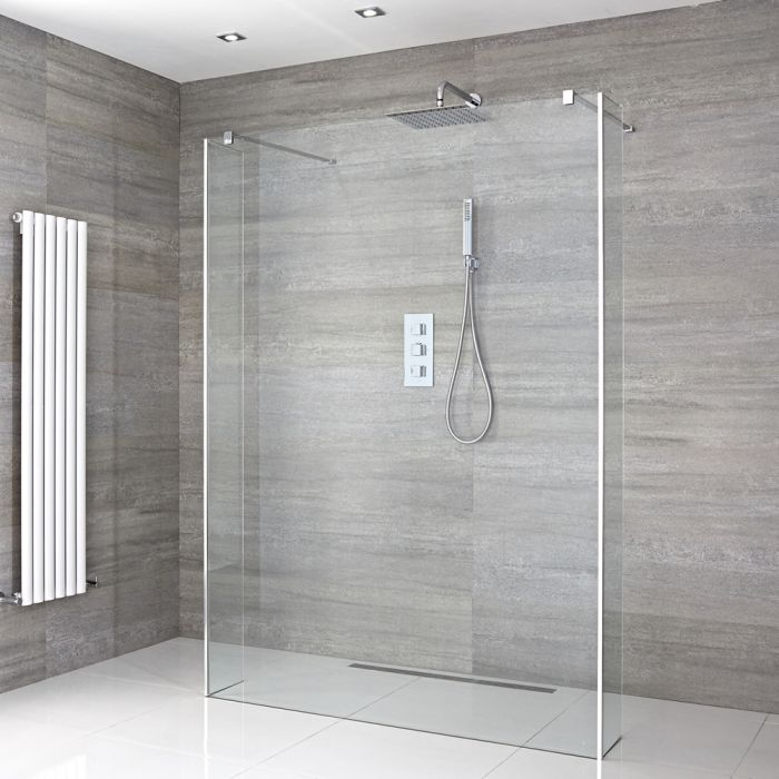 Milano Portland - Floating Wet Room Shower Enclosure with Fixed Return Panels - Choice of Glass Size & Drain