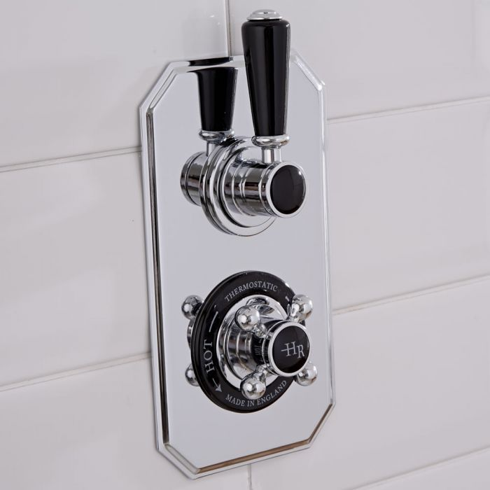 Hudson Reed Topaz - Traditional Twin Concealed Diverter Shower Valve - Chrome and Black