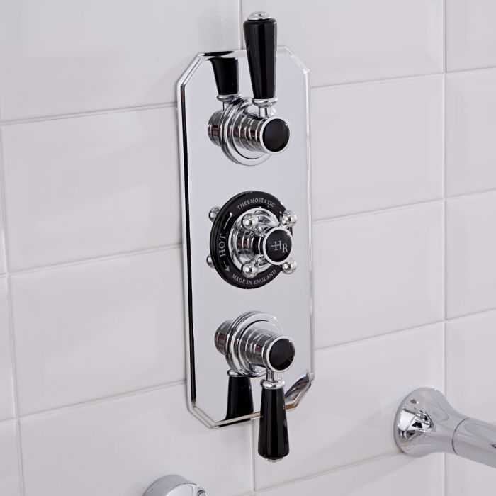 Hudson Reed Topaz - Traditional Wall Mounted Triple Concealed Diverter Shower Valve - Chrome and Black