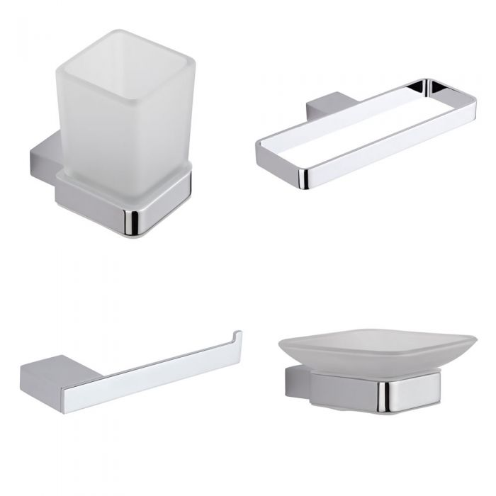Milano Arvo - Modern 4 Piece Chrome Accessory Pack
