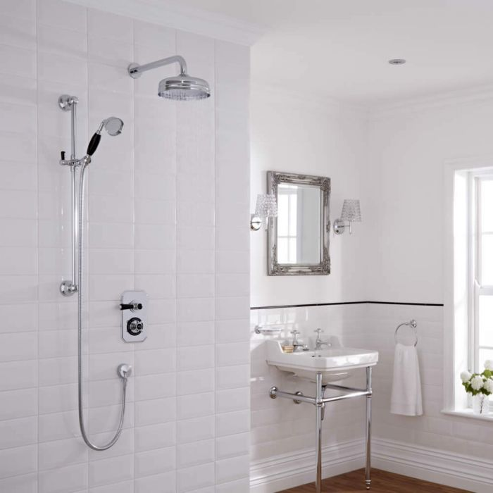 Milano Elizabeth - Traditional Slide Rail Hand Shower with Wall Mounted Apron Shower Head and 2 Outlet Concealed Valve