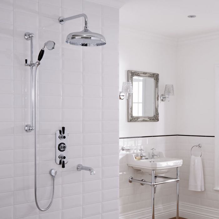 Milano Elizabeth - Traditional Three Outlet Traditional Shower with Round Shower Head, Slide Rail and Bath Spout - Chrome and Black