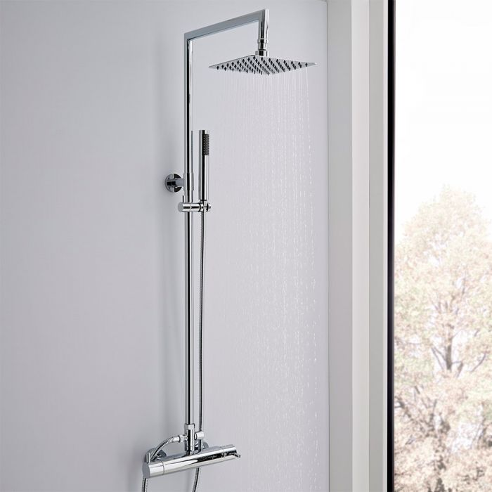 Milano Mirage - Modern Rigid Riser Shower Head Kit, with Hand Shower and Exposed Bar Valve - Chrome