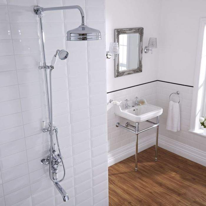 Milano Elizabeth - Traditional Rigid Riser Kit with Shower Head, Twin Exposed Thermostatic Shower Valve and Bath Spout