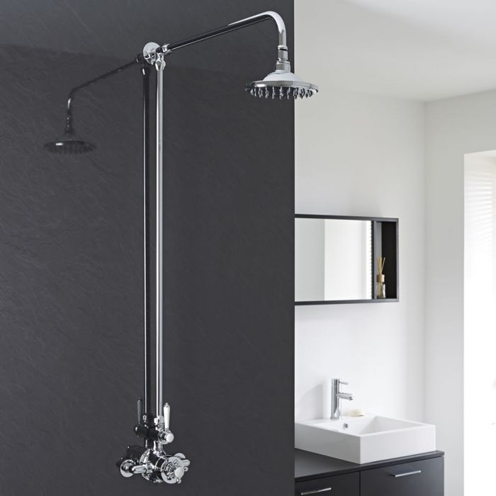 Milano Elizabeth - Traditional Rigid Riser Shower Head Kit with 1 Outlet Exposed Thermostatic Valve