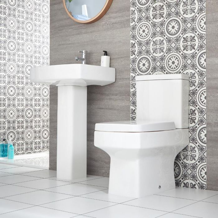Milano Farington - Modern Close Coupled Toilet and Pedestal Basin Set