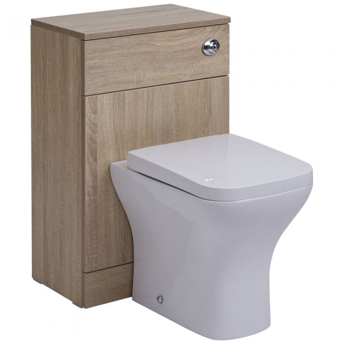 Milano Arch - Oak 500mm WC Unit with Back to Wall Toilet, Cistern and Quick Release Seat