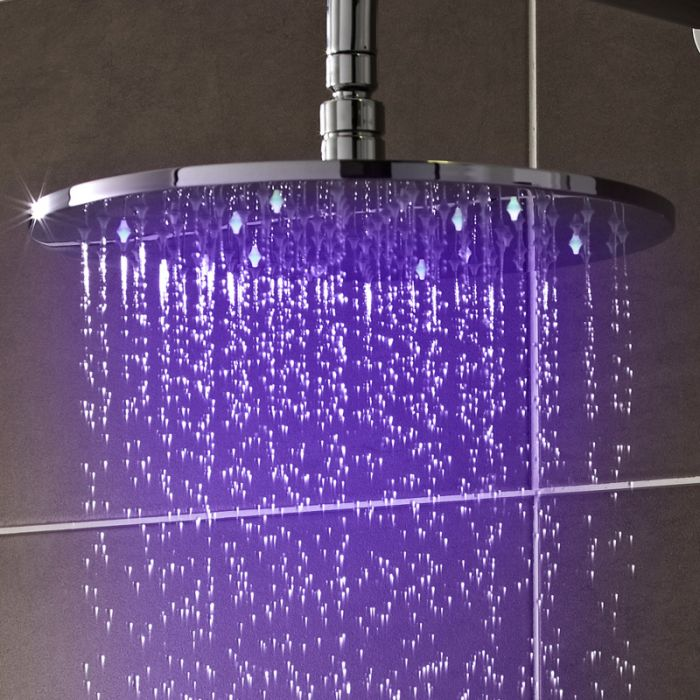 Milano Select - Modern 300mm Round LED Fixed Shower Head - Chrome
