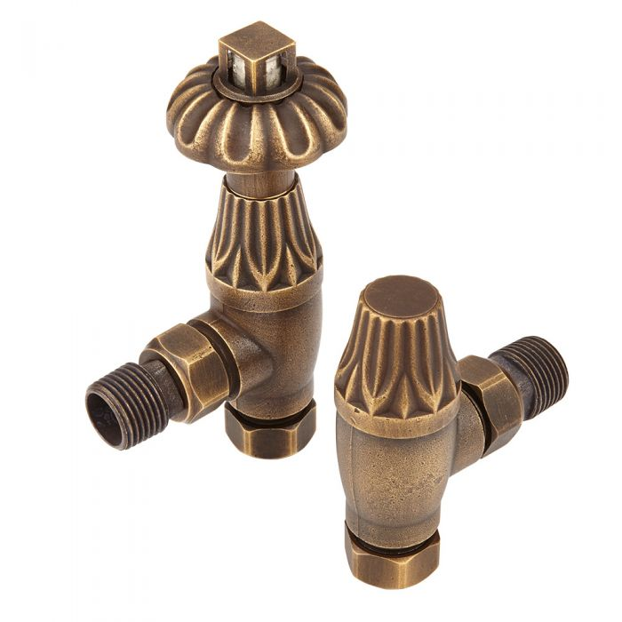 Milano Windsor - Antique Style Brass Thermostatic Angled Radiator Valves (Pair)