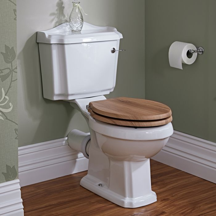 Milano Legend - Traditional Toilet Pan with Cistern and Walnut Wooden Seat
