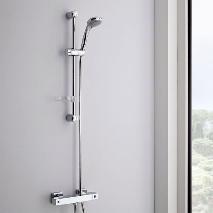 Milano - Modern Thermostatic Square Bar Shower Valve With Multifunction Slide Rail Kit