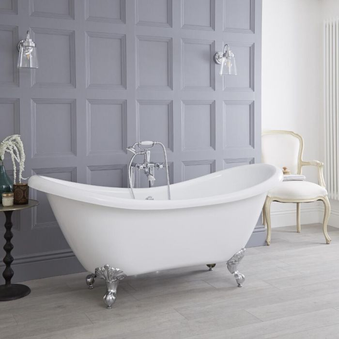 Milano Legend - White Traditional Double-Ended Freestanding Slipper Bath with Choice of Feet - 1750mm x 720mm