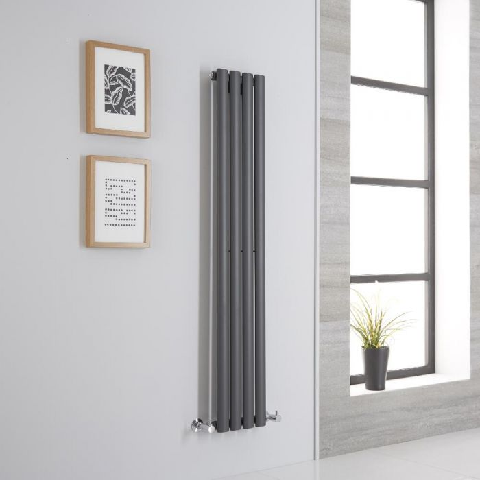 Milano Aruba Aiko - Anthracite Vertical Designer Radiator - 1400mm x 236mm