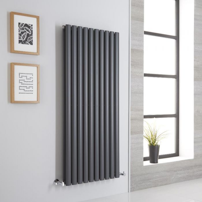 Milano Aruba Aiko - Anthracite Vertical Designer Radiator - 1400mm x 590mm (Double Panel)
