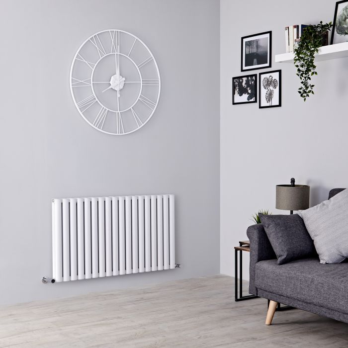 Milano Aruba Ayre - Aluminium White Horizontal Designer Radiator - 600mm x 1070mm (Double Panel)