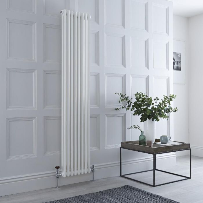 Milano Windsor - White Vertical Traditional Column Radiator - 1800mm x 380mm (Double Column)