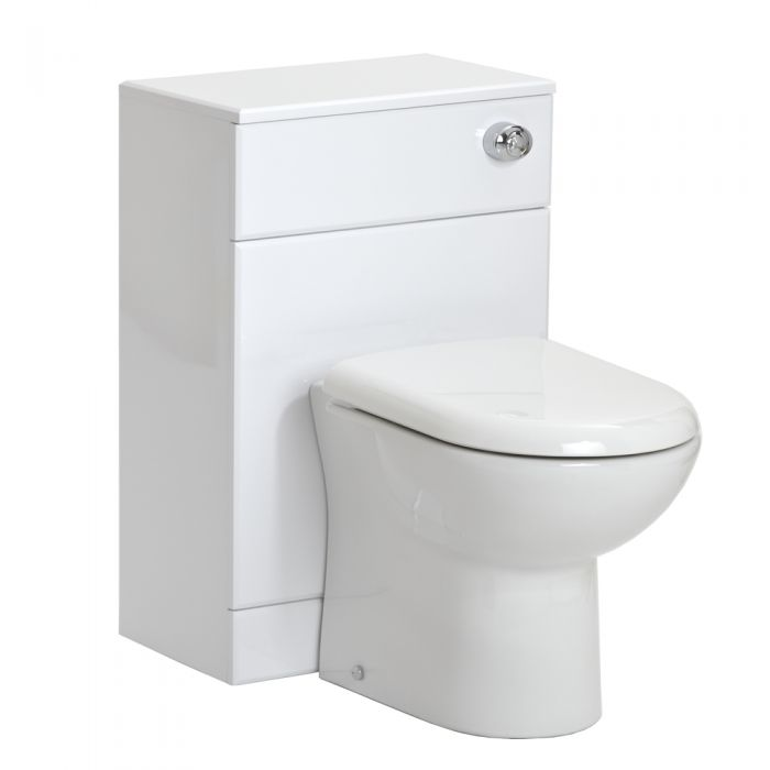 Milano Ren - White 500mm WC Unit Toilet with Cistern and Seat
