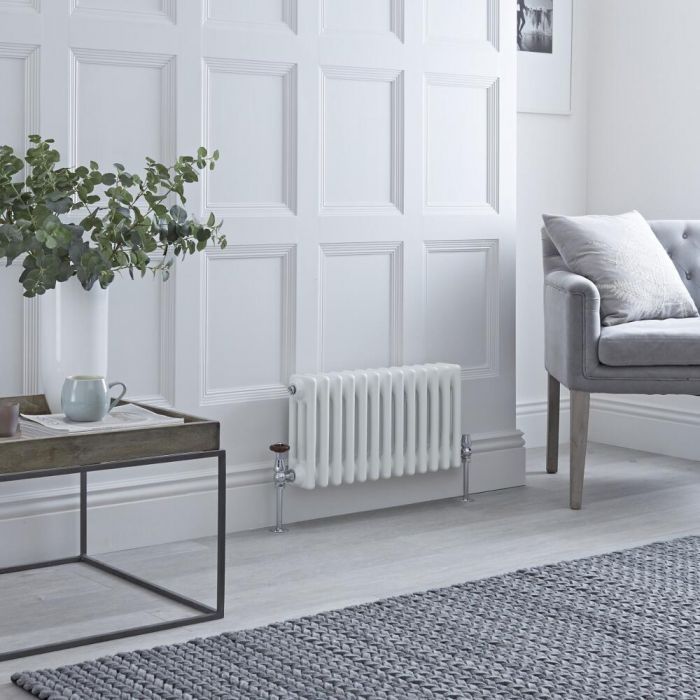 Milano Windsor - White Horizontal Traditional Column Radiator - 300mm x 605mm (Double Column)
