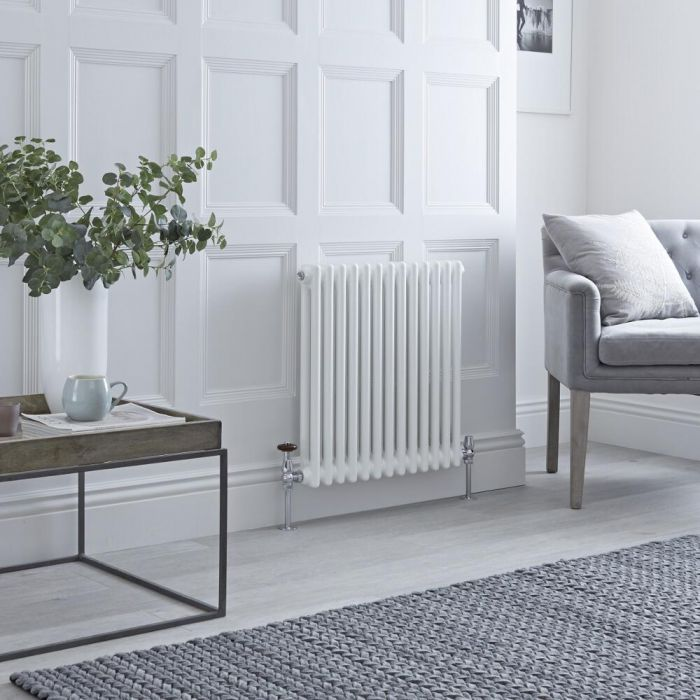 Milano Windsor - White Horizontal Traditional Column Radiator - 600mm x 605mm (Double Column)