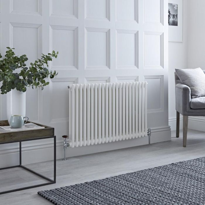 Milano Windsor - White Horizontal Traditional Column Radiator - 600mm x 1010mm (Double Column)
