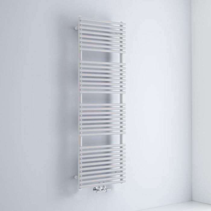 Milano Via - White Central Connection Bar on Bar Heated Towel Rail - 1520mm x 500mm