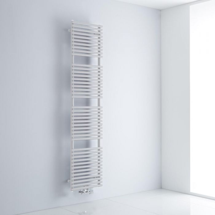 Milano Via - White Central Connection Bar on Bar Heated Towel Rail - 1823mm x 400mm