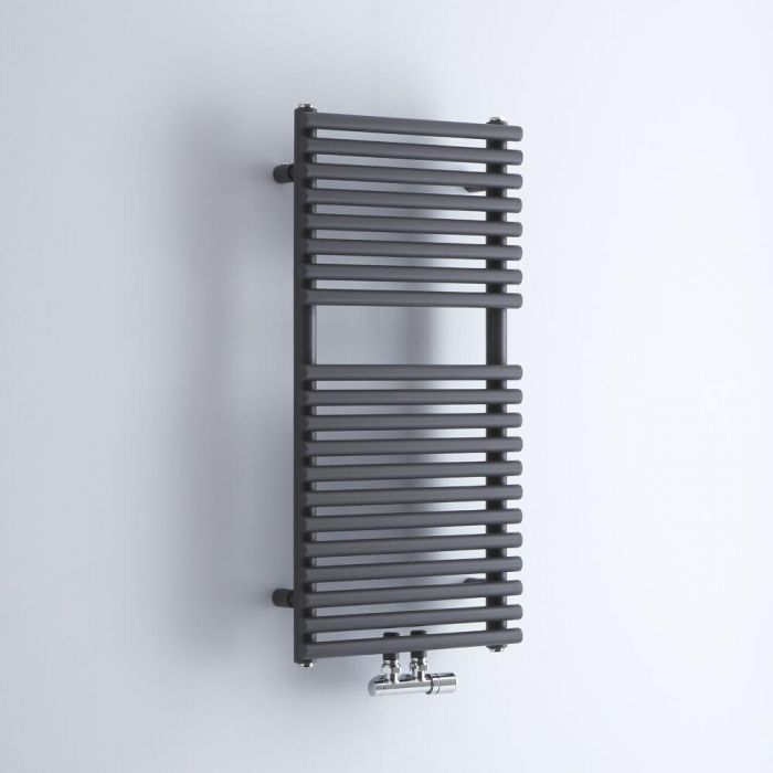 Milano Via - Anthracite Central Connection Bar on Bar Heated Towel Rail - 835mm x 400mm