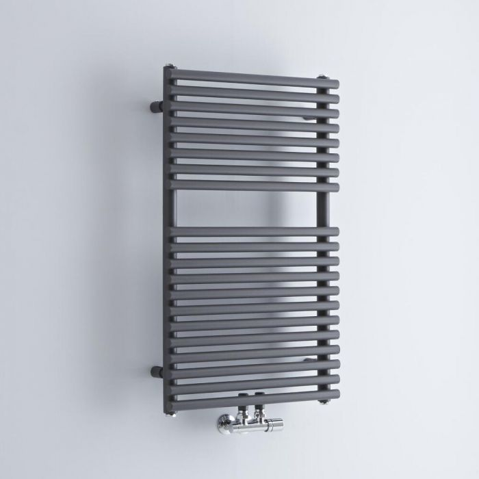 Milano Via - Anthracite Central Connection Bar on Bar Heated Towel Rail - 835mm x 500mm