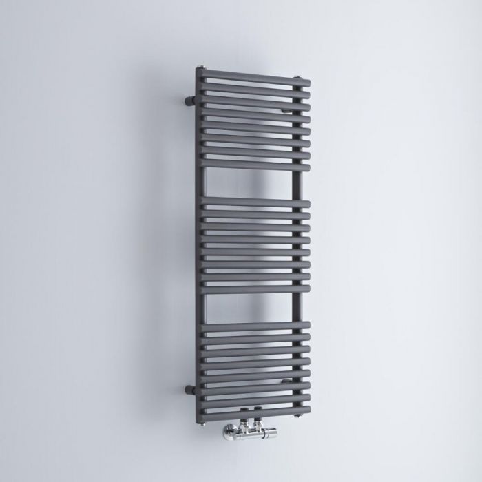 Milano Via - Anthracite Central Connection Bar on Bar Heated Towel Rail - 1065mm x 400mm