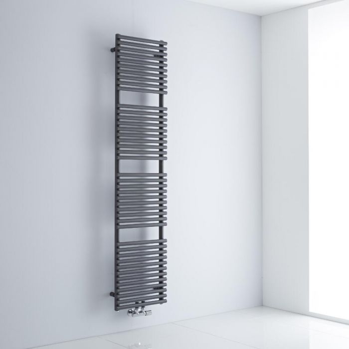 Milano Via - Anthracite Central Connection Bar on Bar Heated Towel Rail - 1823mm x 400mm