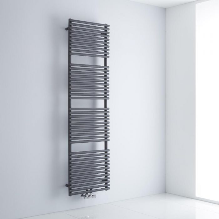 Milano Via - Anthracite Central Connection Bar on Bar Heated Towel Rail - 1823mm x 500mm