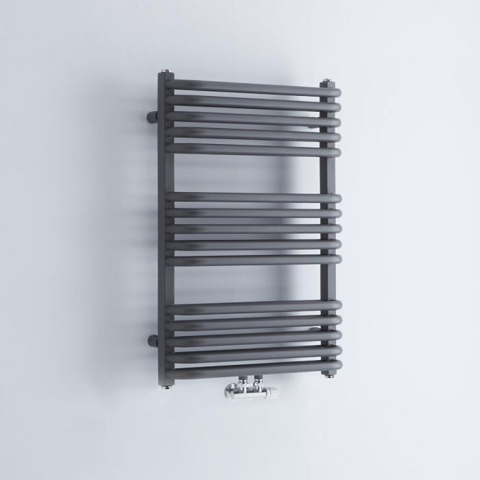 Milano Bow - Anthracite D-Bar Central Connection Heated Towel Rail - 736mm x 500mm
