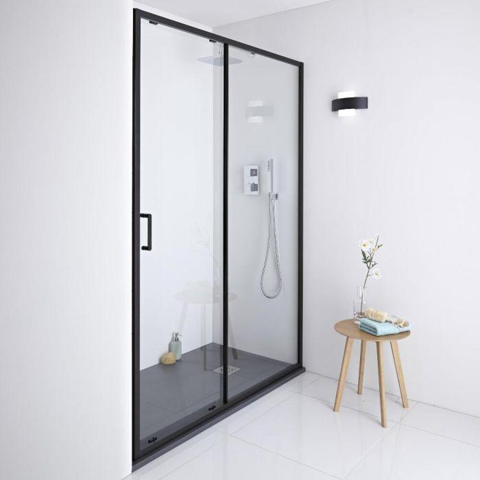 Milano Nero - Black Shower Sliding Door - 1400mm x 1950mm