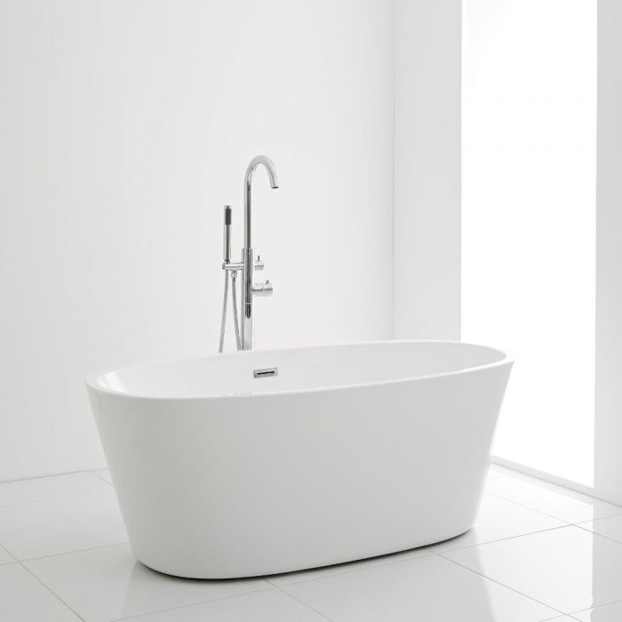 Milano Irwell - White Modern Oval Double-Ended Freestanding Bath - 1595mm x 740mm