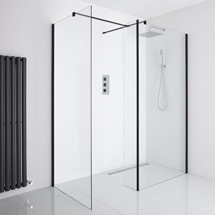 Milano Nero - Corner Wet-Room Shower Enclosure (1000mm x 900mm Glass) - Inc. Drain & Return Panel - Choice of Drain