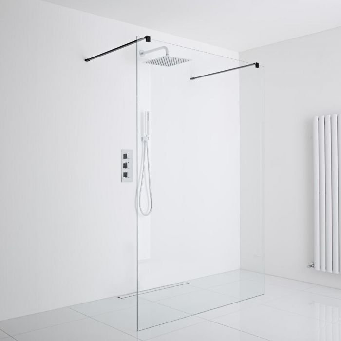 Milano Nero - Floating Wet-Room Shower Enclosure (1200mm Glass) - Choice of Drain